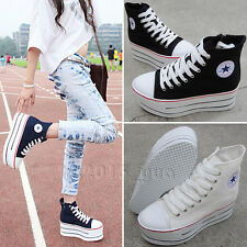Women High Heel Creepers Platform High top shoes Canvas Lace-up flats Sneakers