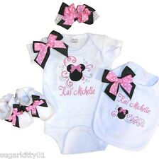 Personalized Baby Girl White Mouse Onepiece, Bib, Booties, HB & Bow Free Ship