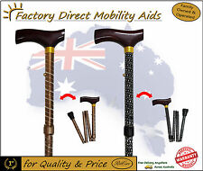 Engraved Pattern Folding Walking Stick Black Bronze Beautiful design!