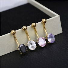 Belly Crystal Bar Button Surgical Steel Ring Rhinestone Piercing Navel