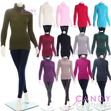 Womens Ladies Chunky Knit Polo Neck Jumper Highneck Top & FREE THERMAL LEGGINGS