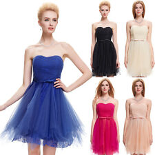 Strapless Tulle & Lace Cocktail Bridesmaid Dress Short Evening Prom Party Dress