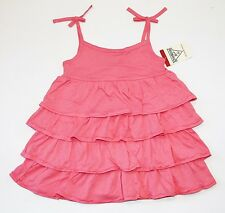 NWT OshKosh Toddler Girls 2T Ruffled Knit Summer Tiered Pink Orange Coral Dress