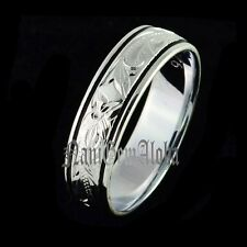 Hawaiian Ring 8mm Plumeria Flower Scrolling 925 Sterling Silver Ring Smooth Edge