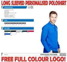 Heavyweight Personalised Workwear Long Sleeve Poloshirt. FREE COLOUR LOGO!