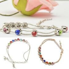 Charm Europe Multicolor Rhinestone Snake Chain Link Bracelet Bangle Jewelry Gift
