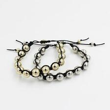 Mens Women Plated Round Beads Adjustable Shamballa Bracelet Braided Bracelet