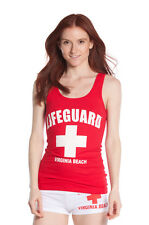Official LIFEGUARD Womens Red Lifeguard Jersey Cotton Tank Top sleeveless casual