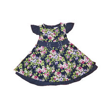 UK New Clothes Cotton Roses Flowers Multis Coloured Girls Dress Age 1 -  5 Yrs