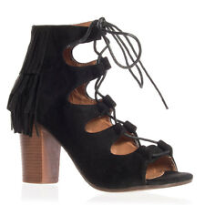 Women's Black Open Toe Lace-Up Fringe Stacked Heel Bootie - Miim Moravia