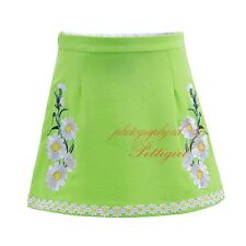 Flower Girls Green Embroidery Daisy Skirts Baby Princess Birthday Party Pageant
