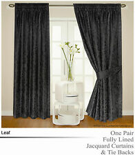Fully Lined Jacquard Black Floral Leaf Detail Curtains including Tie Backs