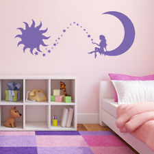 Fairy Sitting on a Crescent Moon with Stars and Sun Vinyl Wall Decal K634