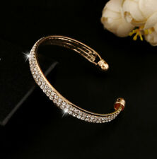 Gold Jewelry Crystal Bangle Rhinestone Style Bracelet Women Fashion Cuff