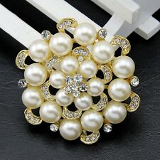 fashion crystal bouquet wedding braid brooch rhinestone pearls pins D25
