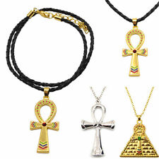 Vintage Ankh Cross Egyptian Symbol Of Life Pendant Necklace Gold Silver CHI
