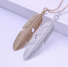 New Women Sweater Jewelry Necklace Pendant Vintage Chain Statement Feather Long