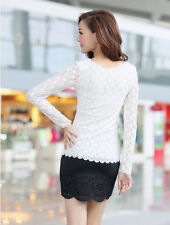 Casual Lace Long Sleeve Women Fashion Top  T-Shirt Stretch Blouse Ladies O-neck