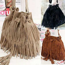 Women's Leather Fringe Tassel Bucket Handbag Shoulder Crossbody Messenger Bag