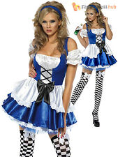 Ladies Sexy Wonderland Alice Costume Womens Fairytale Fancy Dress Party Outfit