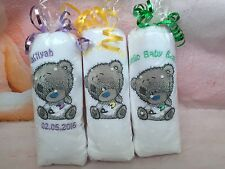 Personalised White Cotton Baby Hooded Towel Tatty Teddy Bear Cuddle Robe Gift