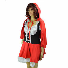 Halloween Women Costumes Cute Little Red Riding Hood Dress Up Cosplay Outfit
