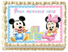 BABY MICKEY MOUSE & MINNIE MOUSE Image Edible Cake topper Decoration