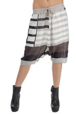 RICK OWENS Woman New White striped 100% silk pants Italy Made