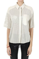 DROMe Women Beige Perforated Leather Short Sleeved Shirt Made in Italy New