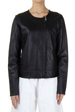 MARTIN MARGIELA MM6 Women Black Cotton and Leather Jacket Made in Italy