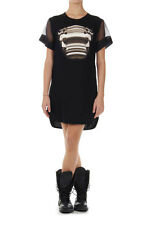 NEIL BARRETT Women black Embroidered Straight Fit dress silk sleeves italy made