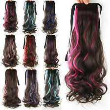 """Hair Extensions 21"""" Women Girls Long Wavy Hair Curly Ponytail Colorful 53b"""