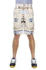GIVENCHY Men New Beige Cotton blend Printed Shorts Pants Trousers