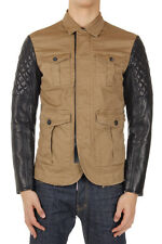 DSQUARED2 Dsquared² Men Leather Sleeved Jacket Made in Italy New