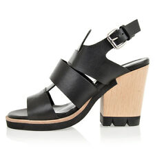 STRATEGIA women new black Leather high heels sandals shoes made in italy
