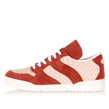 BOTTEGA VENETA Men Red Woven Leather Sneakers Shoes Made in Italy