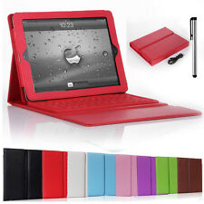 Wirelesss Bluetooth Keyboard + Stand Leather Case Cover For Apple iPad Tablet PC
