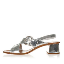 PRADA Women Laminated Patent Leather Sandals Shoes Silver Made in Italy