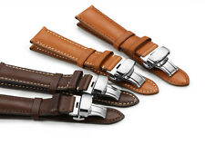 18mm-22mm Genuine Leather Watch Band Sliver Deployment Clasp For Herbelin