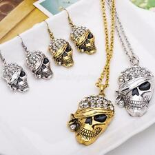 Crystal Rhinestone Skull Necklace Pendant Earrings Jewelry Sets For Women Gifts