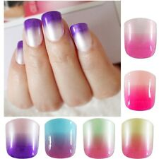 12 Color Gradient False Nail Tips 24pcs Candy Purple Pink Acrylic Fake Nails