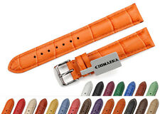 16mm Croco Grain Padded Tang Genuine LEATHER Colorful Ladies Watch Strap Clasp