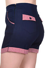 Banned Blueberry Hills Gingham 50s Rockabilly Shorts Hot Pants Navy XS S M L XL