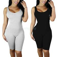Women Soft Chic Crew Neck Sleeveless Backless Hollow Tight Rompers Jumpsuits