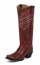 Tony Lama Womens Red Baja Leather Vaquero 15in Western Boots