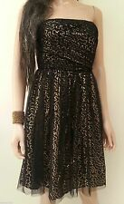 LA REDOUTE BLACK PARTY DRESS SIZE 8 OR 16 - GOLD SEQUIN PRINTED - STRAPLESS NEW