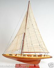 "Shamrock V 1930 J Boat Fully Assembled 32"" MID Built Wooden Model Yacht  sails"