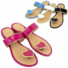 Womens Cute Heart Thong Flip Flops Flat Sandals Fashion Slippers Shoes New