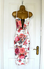 ~SIAN~ White Red Floral Mesh Midi Bodycon Evening Summer Party Dress 8 10 12 14