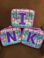 """JUSTICE SEQUIN """"INITIAL"""" (K, I, N) DYE EFFECT LUNCHBOX, TOTE  NEW"""